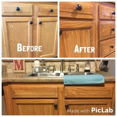 Honey Oak Cabinets Restained With Genera Finishes American Oak Gel Stain.  Cabinets Are Just A