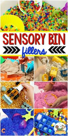What is a sensory bin? Where can you get a sensory bin? What can you put in a sensory bin? Find out the answers to all these questions and more here! Toddler Sensory Bins, Sensory Tubs, Sensory Rooms, Sensory Boards, Sensory Wall, Sensory Bottles, Kindergarten Sensory, Sensory Activities For Preschoolers, Toddler Activities