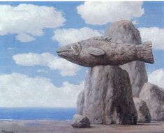 blue - fish - The Connivance 1965 -painting - Rene Magritte