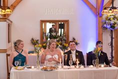 This is the cutest Formal Head Table ever!  Only the bride, groom, maid-of-honor, and best man.  Works so perfect in the Timberlodge.