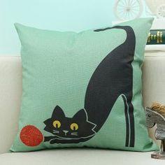 Cartoon Cat Printed Linen Sofa Decorative Pillow Case