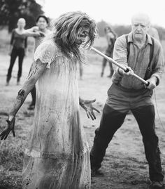 oh hershel, walking his Zombie friend to the barn...