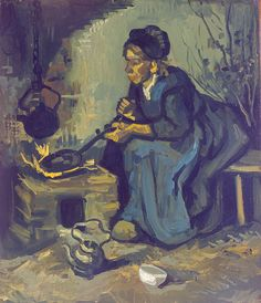 Van Gogh - Peasant woman cooking by a fireplace [1885]