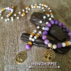 Tree of life necklace and bracelet, purple jasper, turquoise beaded hippie becklace by HonuHippie on Etsy https://www.etsy.com/listing/387031710/tree-of-life-necklace-and-bracelet