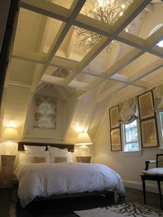 "magicalhome:  "" I've never seen a ceiling like this, where the chandelier is above the beams. Fantastic.  """