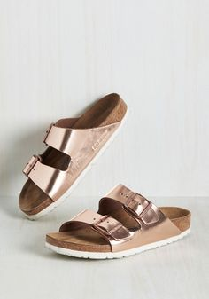 Strappy Camper Sandal in Rose Gold. Set up your tent, kick off those hiking boots, and step into these Birkenstock Arizona sandals! #copper #modcloth