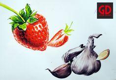 딸기 마늘 개체표현 기초디자인 전주굿디자인 Tutti Frutti, Art Sketches, Strawberry, Fruit, Vegetables, Drawings, Animals, Animales, Animaux