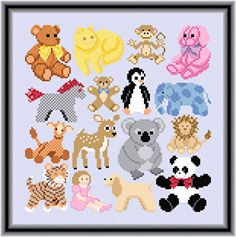 Cute ideas for duplicate stitch on baby sweaters: Cuddly Friend Images cross stitch pattern.