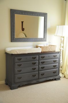 Changing Table/Dresser Inspiration --- Annie Sloan Old Violet & Dark Wax Dark Furniture, Paint Furniture, Furniture Makeover, Diy Nursery Furniture, Children Furniture, Furniture Ideas, Bedroom Dresser Styling, Bedroom Dressers, Changing Table Dresser