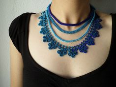Items similar to Beaded crochet statement necklace with cobalt blue and turquoise blue seed beads and crocheted flowers on Etsy