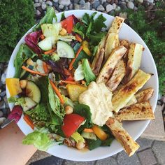 """goodhealthgoodvibes: """" Dinner is sweet potato fries with hummus and lots of salad  Instagram - goodhealthgoodvibes """""""