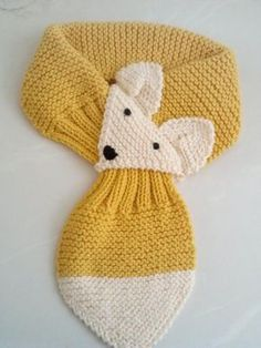 Knitting Patterns Scarf Adjustable Fox Hand Knit Scarf / neck warmer for by QuiltNCrochet Chunky Knitting Patterns, Loom Knitting, Baby Knitting, Crochet Patterns, Fox Scarf, Hand Knit Scarf, Crochet Baby Beanie, Crochet Yarn, Fox Crafts