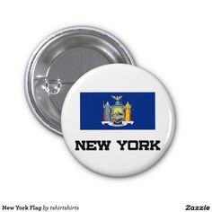 New York Flag 1 Inch Round Button