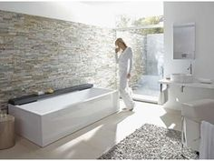 bath and wall continuing into courtyard duravit bathroom series nahho tub from duravit