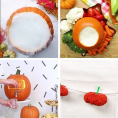 How to Throw a Pumpkin Carving Party. The perfect Halloween Party menu, desserts and making a pumpkin carving kit. Soirée Halloween, Adornos Halloween, Manualidades Halloween, Halloween Food For Party, Holidays Halloween, Halloween Pumpkins, Halloween Decorations, Diy Halloween Videos, Halloween Finger Foods