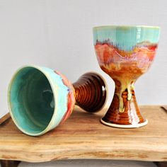 wheel thrown Wine Glasses from Lee Wolfe Pottery >> There is nothing from this shop that I do not want, every item is beautiful!!