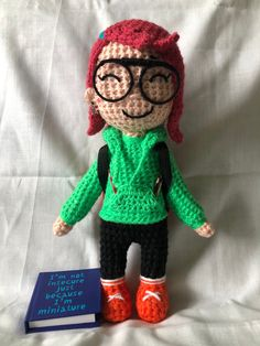 Excited to share this item from my #etsy shop: Zofia the little artist . Crochet doll with accessories Red Backpack, Small Notebook, Little Doll, Acrylic Wool, New Adventures, Miniatures, Etsy Shop, Dolls, Children