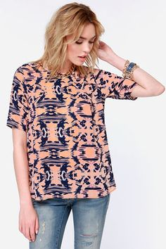 Echoes of the Past Navy and Peach Print Top at LuLus.com!.  $35.00