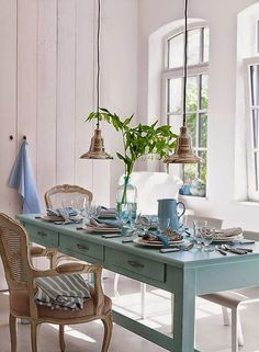 The Bright Painted Furniture Movement {Inspiration} Bright Painted Furniture, Dining Area, Dining Table, Dining Rooms, Ikea Table, Console Table, Deco Pastel, Pastel Blue, Blue Yellow