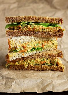 """Lentil + Chickpea Salad Sandwiches {a. Vegan """"Egg"""" Salad Sandwiches} - dip rice crackers in or use gf bread Vegan Lunches, Vegan Foods, Vegan Dishes, Bag Lunches, Lentil Recipes, Vegetarian Recipes, Healthy Recipes, Lunch Recipes, Salad Recipes"""