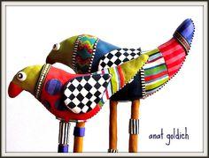 Polymer clay Birds, by Artist Anat Goldich -  Tel Aviv, Israel