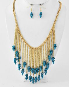 Gold Tone / Turquoise Acrylic / Lead Compliant / Cluster Necklace & Fish Hook Earring Set