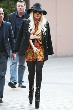 Lady Gaga rocked her signature sky-high wedge boots in Melbourne, Australia.