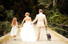 Rustic Mill Wedding, strapless wedding dress, family, khaki suit, dog, wedding exit
