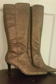 Moda Tall Shimmering Cocoa Powder Smooth Suede Fashion Boots Size 7US   eBay