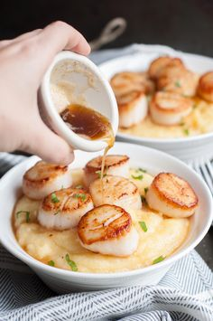 Brown Butter Scallops with Polenta