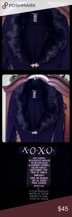 ✨BLACK RABBIT FUR COLLAR BRAND NEW! SOFT SWEATER✨L BRAND NEW!!  NEVER WORN!! BEEN IN MY CLOSET FOR OVER A YEAR + BUT, DOESN'T LOOK LIKE IT'S EVEN 1 DAY OLD!!  SOFTEST BLACK SWEATER VERY WARM !!  STUNNING BLACK RABBIT COLLAR W/ A DOUBLE JEWELED CLOSURE AT THE BASE OF THE FUR AT YOUR HIGH WAIST !!  IT BRINGS AN ELEGANCE TO IT & ALSO, A PERFECT VINTAGE VISION......THAT IS WHY I ORIGINALLY PURCHASED IT !!  BOTH SWEATER & FUR COLLAR ARE THE SOFTEST EVER !!!  YOU CAN LAYER THIS OVER A CUTE TANK…