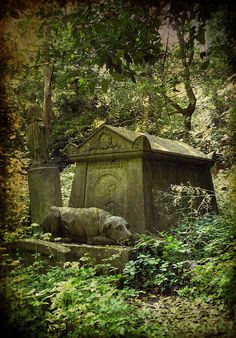Ever Faithful. A grave at Highgate Cemetery in London depicts a statue of the owner's dog resting by his master's side.
