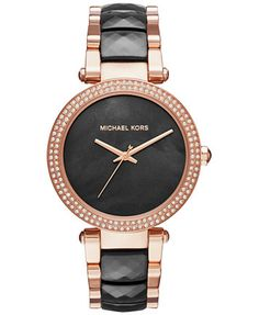 Michael Kors Women S Parker Rose Gold Tone Stainless Steel And Black Acetate Bracelet Watch 39mm