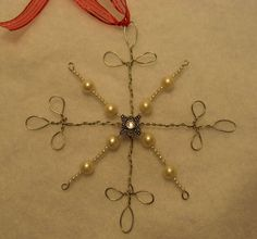 Beaded Snowflake - would be so cute in rusty wire for a primitive tree!