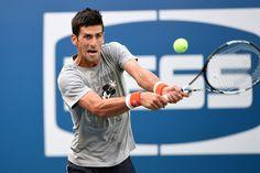 Novak Djokovic practices at US open 2015