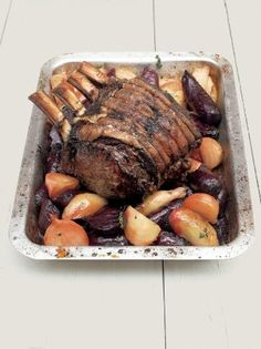 This fore rib cut of beef makes the perfect roast. Even if there are fewer than ten of you it's still worth cooking the whole joint and enjoying the leftovers. Beef and beetroot work so well together. When buying beetroot, try and get hold of some differe Beef Rib Roast, Prime Rib Roast, Beef Ribs, Roast Lamb, Roast Brisket, Roast Recipes, Cooking Recipes, Rib Recipes, Gastronomia