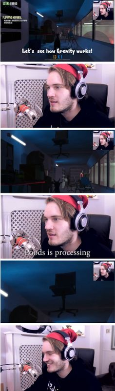 """Poods is processing"" - The Goat Simulator Game - Pewdiepie as 'the goat', headbutted a chair after saying ""Let's see how Gravity Works"", and if flew into the ceiling and stayed there. Pewds needed time to think about that one! Lol"
