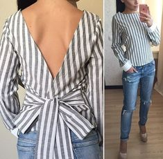 Striped Back Tie Backless Blouse Vetement Fashion, Look Fashion, Fashion Design, Blouse Designs, African Fashion, Casual Looks, Blouses For Women, Cool Outfits, Fashion Dresses