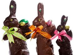 beautiful chocolate easter bunnies on parade