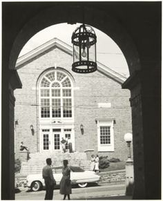 Natatorium from underneath Scott Quad arch, ca. early 1950a :: Ohio University Archives