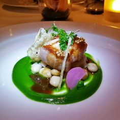 Twice cooked 'Berkshire' pork belly with white bean cassoulet, turnips, green peas, and mustard seeds at Pear Tree Restaurant #Burnaby... yes, please.