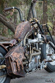 Leatherworks fit for a biker god. Bobber Bikes, Bobber Motorcycle, Cool Motorcycles, Indian Motorcycles, Harley Davidson Chopper, Harley Davidson Motorcycles, Custom Paint Motorcycle, Futuristic Motorcycle, Harley Softail