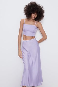 High-waisted midi skirt with elastic waistband. Two Piece Outfit, Two Piece Skirt Set, Satin Skirt, Zara Women, Lilac, Lavender, Purple, Midi Skirt, Ready To Wear