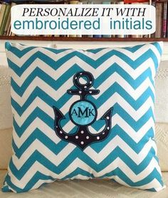 Personalized Nautical Gifts for the Home: http://www.completely-coastal.com/2014/11/personalized-nautical-gifts.html Anchor monogram pillow handmade in the US.