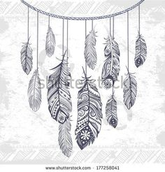 Vintage ethnic tribal feather for your business - stock vector