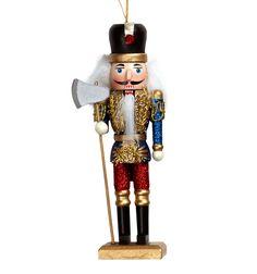 Kurt Adler Glitter Wooden Nutcracker Ornament
