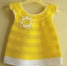 How to tutorial knitting and crochet baby pattern free Crochet Girls Dress Pattern, Knit Baby Dress, Baby Dress Patterns, Crochet Baby Clothes, Baby Knitting Patterns, Moda Crochet, Pull Crochet, Pull Bebe, Baby Sweaters