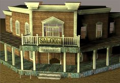 3D Model Available for Download - Old West Saloon Scene - The 3D old west saloon scene for Poser and DAZ Studio has lower doors that swing open, the ground and hitching post are parented to the saloon building and there is a photo of a desert for use as a backdrop if needed. This model and scene too 60 hours to model and texture.