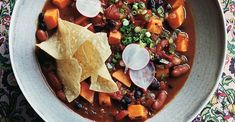 Get the recipe for Slow-Cooker Vegetarian Chili With Sweet Potatoes. Veggie Recipes Easy, Vegetarian Meals For Kids, High Protein Vegetarian Recipes, Sweet Potato Recipes, Healthy Chicken Recipes, Vegetarian Chili, Seafood Recipes, Pasta Recipes, Crockpot Recipes