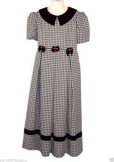 Bonnie Jean Dressy Black and White Plaid Dress Girls Size 10 Velvet Collar #BonnieJean #ChurchDressyEveryday